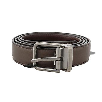 Dolce & Gabbana Brown Plain Leather Silver Buckle Belt