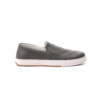 Bottega Veneta 608751vt0311423 Men's Grey Leather Slip On Sneakers