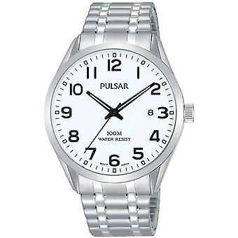 Pulsar Classic Quartz White Dial Silver Stainless Steel Bracelet Men's Watch PS9559X1