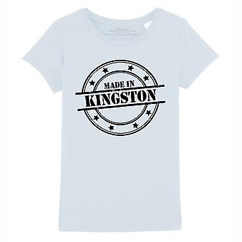 STUFF4 Girl's Round Neck T-Shirt/Made In Kingston/Baby Blue
