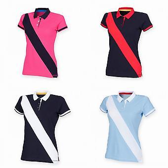 Front Row Womens/Ladies Diagonal Stripe House Slim Fit Polo Shirt