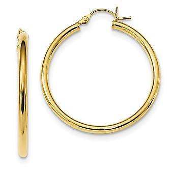 34,6 mm 925 Sterling Silber Gold Ton poliert Creolen Schmuck Geschenke für Frauen - 4,1 Gramm