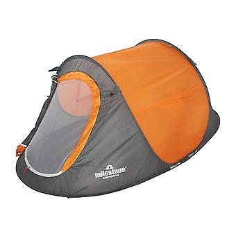 Milestone 2 Man Foldable Pop-Up Camping Tent With UV50+ Protection Orange