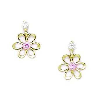 14k Yellow Gold Pink CZ Cubic Zirconia Simulated Diamond Small Flower Drop Screw back Earrings Measures 10x8mm Jewelry G