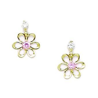 14k Yellow Gold Pink CZ Cubic Zirconia Gesimuleerde Diamond Small Flower Drop Screw terug Oorbellen maatregelen 10x8mm sieraden G