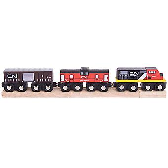 Bigjigs Rail Wooden CN Train Carriages Engine Locomotive Play Set Railway