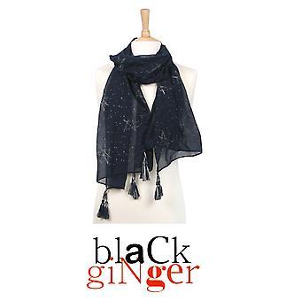 Black Ginger Dark Blue Scarf with Silver Star Pentangle Design (734-349)