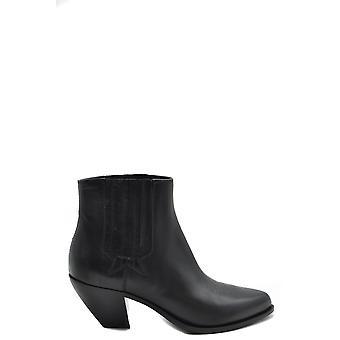 Golden Goose Ezbc011047 Kvinnor's svarta läderkängor