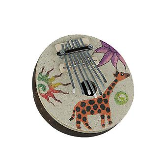Colorful Sand Painted Giraffe Design Natural Coconut Karimba Mbira Thumb Piano