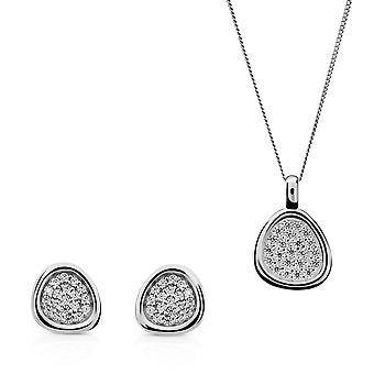 Orphelia Silver 925 Pendant and chain 45cm- Earring  Pavee  with Zirconium