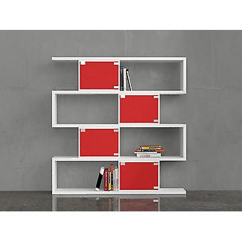 Red Color Wine Library in Melaminic Chip 140x30x143 cm