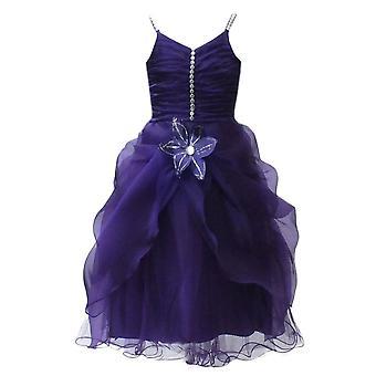 Purple Flower Girls Dresses, Sleeveless Party Prom Wedding Dresses
