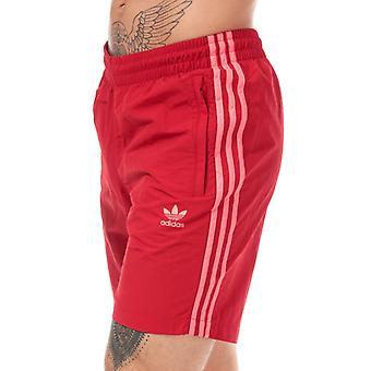 Men's adidas Originals 3-Stripes Swim Shorts in Red