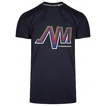 Antony Morato esporte tripulação pescoço Navy AM logo T-shirt