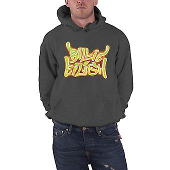Billie Eilish Hoodie Airbrush Flames Blohsh new Official Mens Dark Grey Pullover
