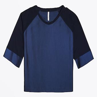 Ania Schierholt  - Satin Round-Neck Top - Blue/Navy
