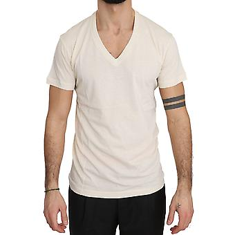 Beige Cotton Logo Print V-neck Mens Top Short Tshirt -- TSH3702384