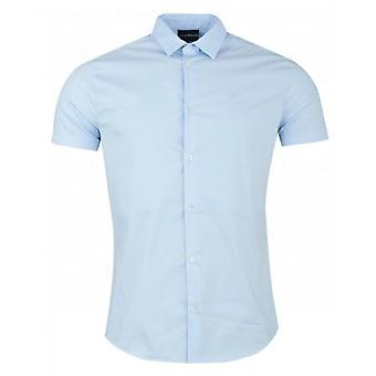 Armani Slim Fit Cotton Poplin Logo Shirt