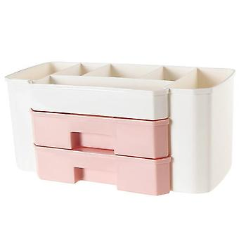 Makeup Organizer Of Plastic Cosmetics Box - Large Makeup Holder Nail Polish Organizer Swabs Holder Bathroom Storage Box