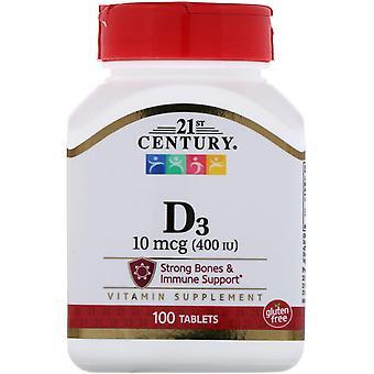 21ème siècle, vitamine D3, 10 mcg (400 UI), 100 comprimés