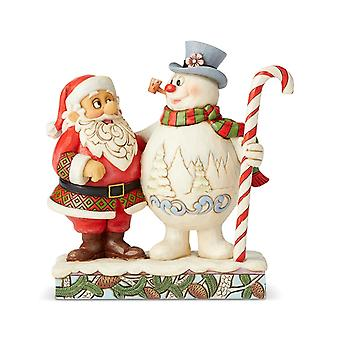 Santa & Frosty With Candy Cane Christmas Collectible