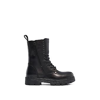 Replay Women's Standing Lace Up Leather Μποτακια Γυναικεια Μαυρα