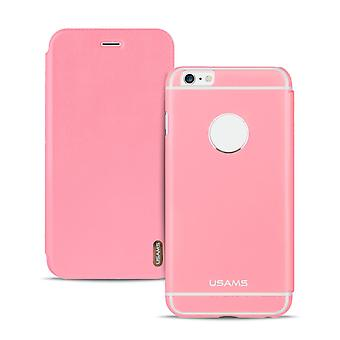 Metal Book Case pour Apple iPhone 6/6s Glittering Leatherette Ultra Thin Pink