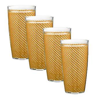 Fishnet 22 Oz Golden Doublewall Drinkware Set/4
