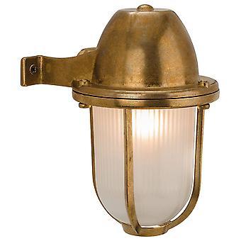 1 luz al aire libre luz de latón sólido, vidrio esmerilado IP64, E27