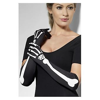Womens Long Skeleton Gloves Halloween Fancy Dress Accessory