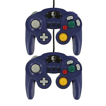 Zedlabz wired vibration gamepad controller for nintendo gamecube gc with turbo function - 2 pk purple