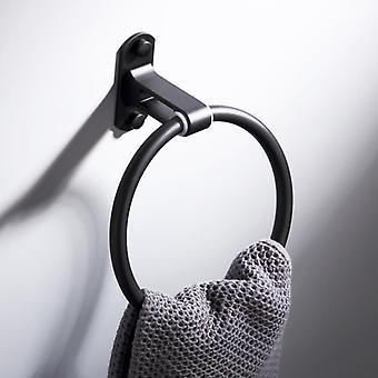 Modern Design Svart Handduk Ringar Handdukshållare Rund Väggmonterad Handdukshängare Badrum Tillbehör