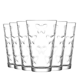 LAV Kelebek Embossed Highball Cocktail Glasses - Butterfly - 325ml - Pack of 6