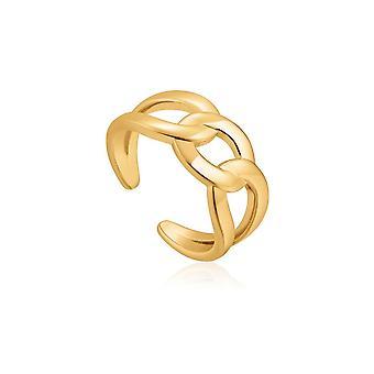 Ania Haie kjede reaksjon skinnende gull bredt fortauskant kjede justerbar ring R021-02G