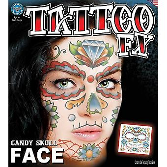 Tinsley Transfers Face Tattoos (Candy Skull Face)