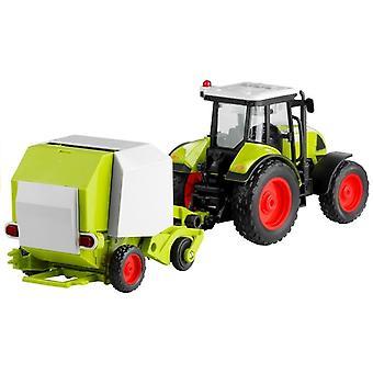 Tractor con enfardadoras redondas para prensado de sonido 37,5 cm