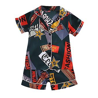 Toddler Baby Boy Girl Newborn Pajamas Short Sleeve Cartoon Tops+shorts Sleepwear Outfits Set