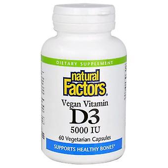 العوامل الطبيعية فيتامين D3، 5000 وحدة دولية، 60 قبعات الخضار