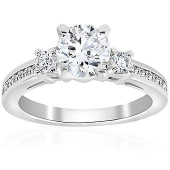 """טבעת אירוסין יהלום 1 ct 3-אבן 14 ק""""מ זהב לבן"""