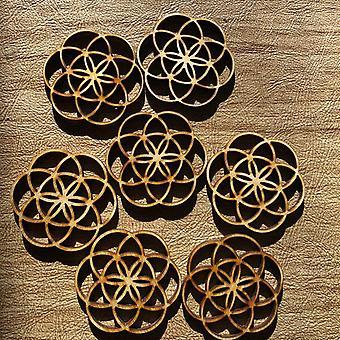 Flower Of Life - Perles en bois pour faire des boucles d'oreilles, pendentifs, pièces d'art