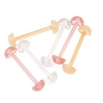 3 Pairs of 14g tongue nipple ring bioflex half ball retainer