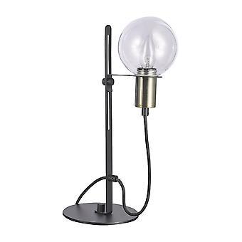 Lámpara de mesa moderna bronce antiguo, negro 1 luz con sombra de cristal, E14