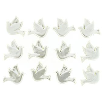Dress it up button doves ~ 20 x 20 mm 12 pcs. white, 10x8x1 cm