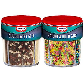 2 x Mix Dr Oetker Chocolatey Bright Colour Sugar Cup Cake Dessert Topping Baking