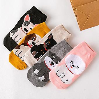 søte hunder katter båt sokker tegneserie korte sokker for kvinnelige / jenter