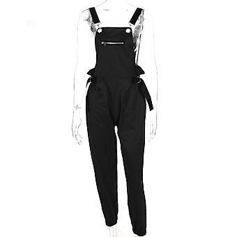 Long Elegant Zipper Pockets Sleeveless Adjusted Strap High Waist Cotton Fashion