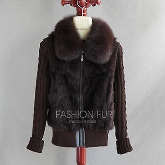 New Natural Rabbit Fur Jacket Cu Real Fox Blană Guler Real Rabbit Blana Coat