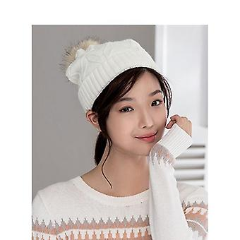 Winter Korean Style All Matched Thicken Fur Ball Warm Ears Cover Knit Cap