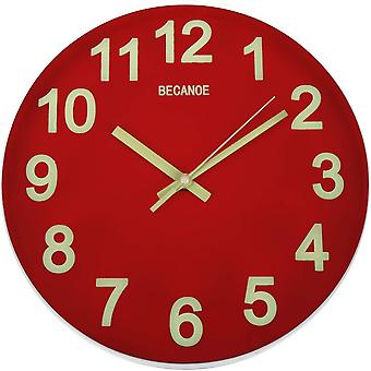 BECANOE Luminous Wall Clock 12 Inch Red Non Ticking Silent Quartz Round Clock