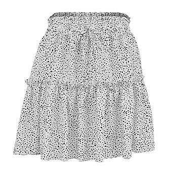 Women's Sexy Summer High Waist Ruffles Evening Print Flared Skirt